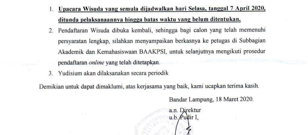 Pelaksanaan Wisuda 7 April 2020 di Tunda