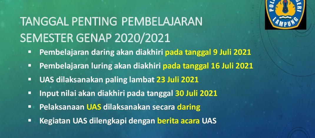 Tanggal Penting Pembelajaran Semester Genap 2020/2021